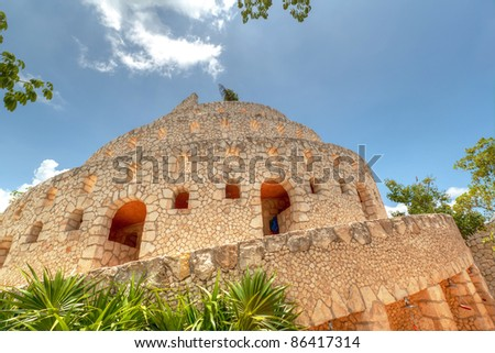 Ruins  in Xcaret, Riviera Maya, Mexico - stock photo