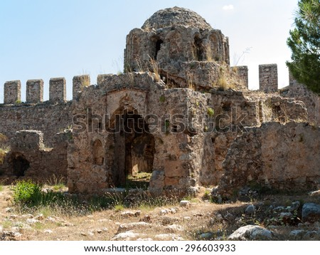 Ruins of a Byzantine church in the castle Ichkale in Alanya, Turkey - stock photo