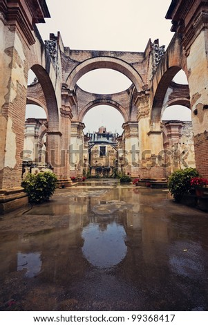Ruins of a church in Antigua, Guatemala - stock photo