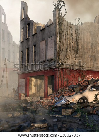 Ruins of a city building and street rubble - stock photo