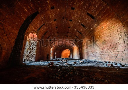 ruins of a very heavily polluted industrial factory, place was known as one of the most polluted towns in Europe, industrial series - stock photo