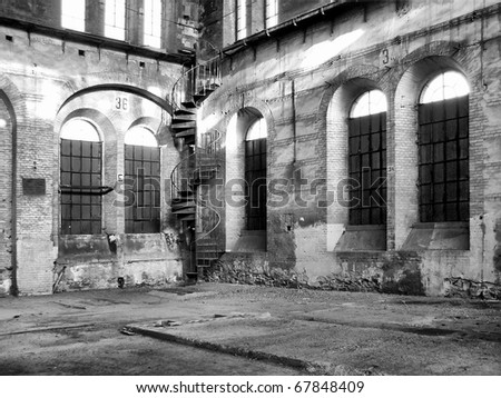 Ruins of abandoned factory architecture in Turin (Torino), Italy - high dynamic range HDR - black and white - stock photo