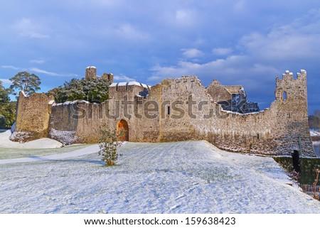 Ruins of Adare castle in winter scenery, Ireland - stock photo