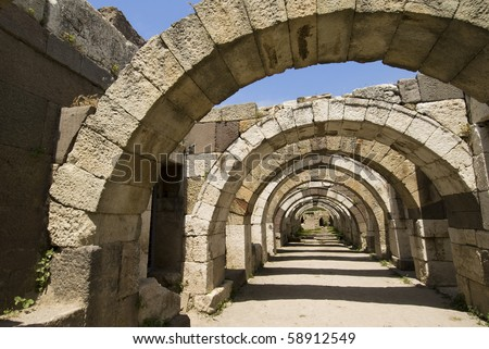 Ruins of agora, archaeological site in Izmir, Turkey - stock photo