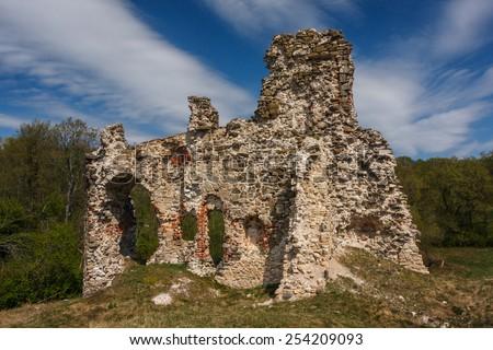 Ruins of Aizkraukle castle, Latvia - stock photo