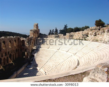Ruins of an ancient greek Amphitheater in Athens - stock photo