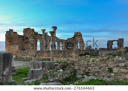 Ruins of an Ancient Roman City in Volubilis, Morocco - stock photo