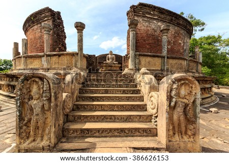Ruins of an ancient temple in Polonnaruwa, Sri Lanka - stock photo