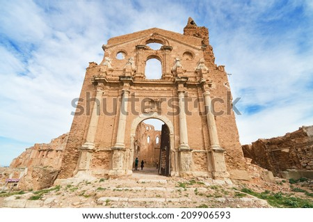 Ruins of an old church destroyed during the spanish civil war in Belchite, Saragossa, Spain. - stock photo