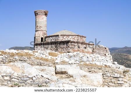 Ruins of an old mosque at Ayasuluk Hill, Selcuk Ephesus IZMIR, Turkey - stock photo