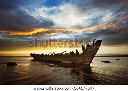 Ruins of an old ship - stock photo