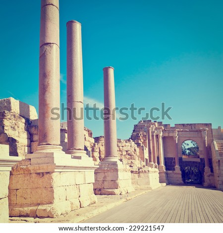 Ruins of Ancient Bet Shean which Collapsed during Earthquake, Instagram Effect - stock photo