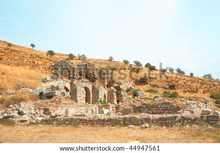 Ruins of ancient city of Ephesus, Turkey - stock photo