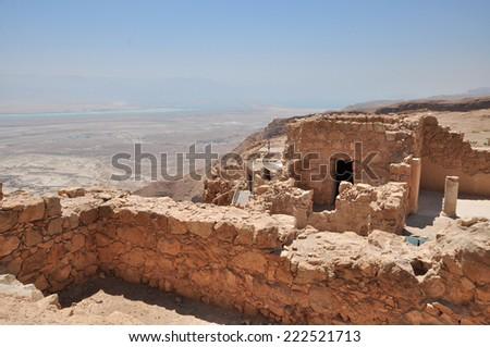 Ruins of ancient Masada fortress in Israel  - stock photo