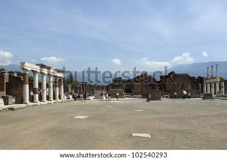 Ruins of ancient Pompeii, Italy - stock photo