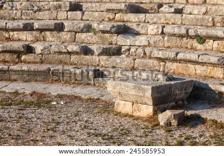 Ruins of ancient Roman theater in Byblos, Lebanon. - stock photo
