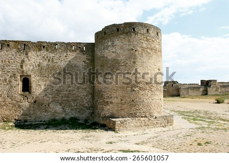 Ruins of ancient stone fortress of the Middle Ages in the Ukrainian city of Odesa Odessa region. - stock photo