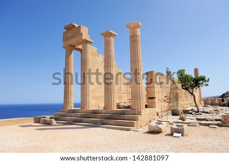 Ruins of ancient temple. Lindos. Rhodes island. Greece - stock photo