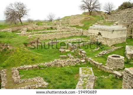 Ruins of ancient troia city, Canakkale (Dardanelles) / Turkey - stock photo