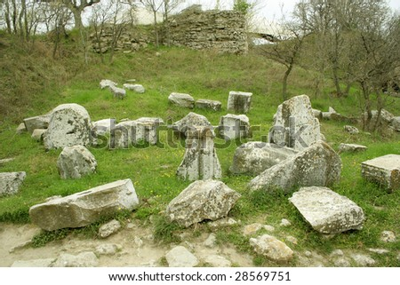 Ruins of ancient troy city, Canakkale (Dardanelles) / Turkey - stock photo