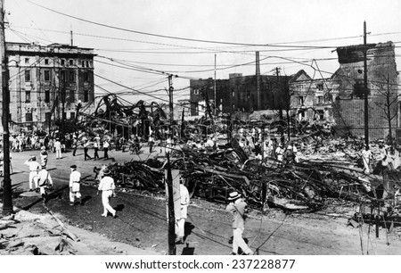 Ruins of burned streetcars after the 1923 Tokyo earthquake The Great Kanto earthquake had a reported duration between 4 and 10 minutes Sept. - stock photo