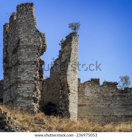 Ruins of Byzantine Walls in Istanbul, Turkey - stock photo