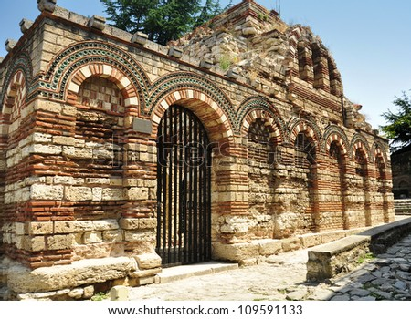 Ruins of Church of the Holy Archangels Michael and Gabriel, Nesebar, Bulgaria - stock photo