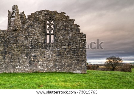 Ruins of Clare Abbey - HDR - stock photo