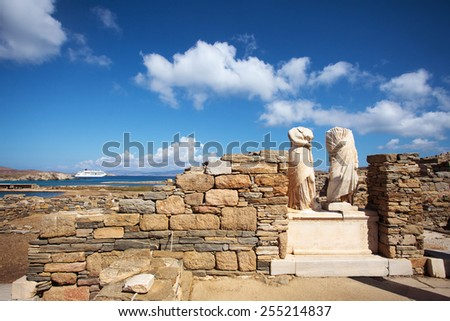 Ruins of Cleopatra House in Delos, Greece - stock photo