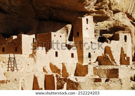 Ruins of Cliff Palace in Mesa Verde National Park, CO, USA. Mesa Verde was inhabited by the Ancestral Pueblo people from AD 600 to 1300.  - stock photo