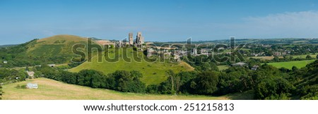 Ruins of Corfe Castle near Swanage, Dorset ,England - stock photo