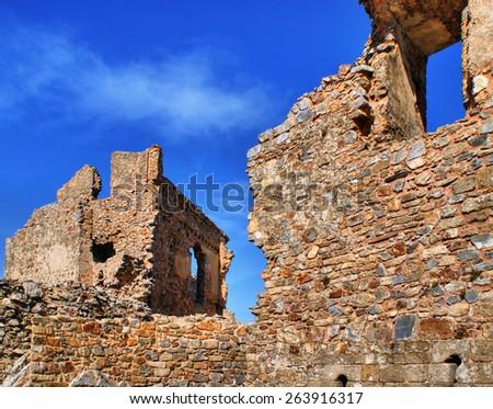 Ruins of Cristovao de Moura palace in Castelo Rodrigo, Portugal - stock photo
