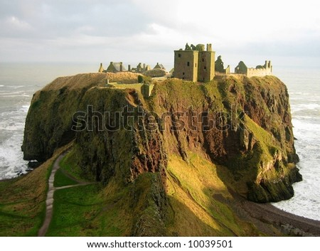 Ruins of Dunnotar castle, Scotland - stock photo