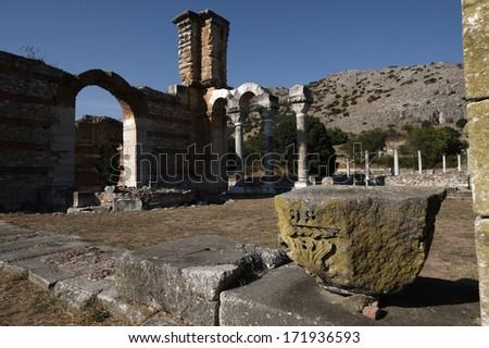 Ruins of Early Christian basilica, Filippi archaeological site, Greece - stock photo