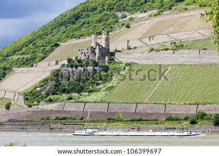 ruins of Ehrenfels Castle, Rhineland-Palatinate, Germany - stock photo