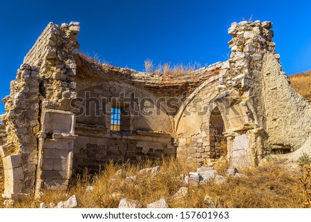 Ruins of El Salvador church in Mota del Marques. - stock photo