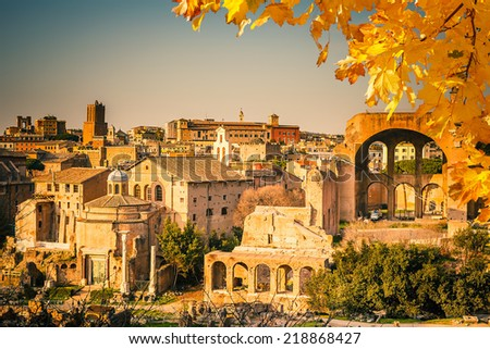 Ruins of Forum in Rome, Italy - stock photo