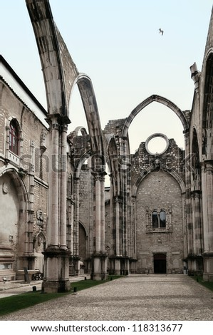 Ruins of gothic Convent (Igreja do Carmo) are the main trace of the great earthquake still visible in Lisbon, Portugal. - stock photo