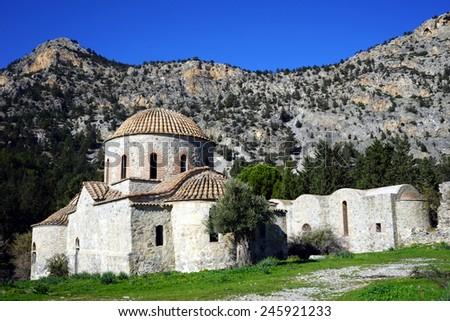 Ruins of greek orthodox monastery near Nicosia, North Cyprus                                - stock photo
