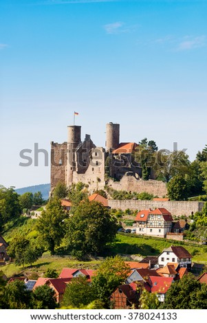 Ruins of Hanstein Castle in Thuringia, Germany - stock photo