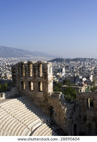 Ruins of Herodes Atticus theatre, Athens, Greece - stock photo