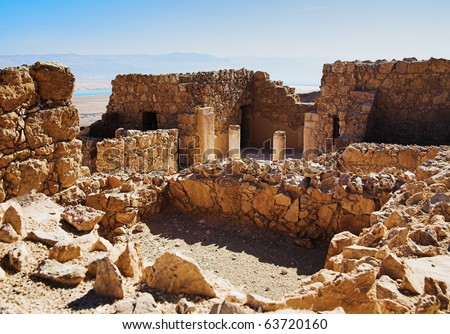 Ruins of Herods castle in fortress Masada, Israel - stock photo