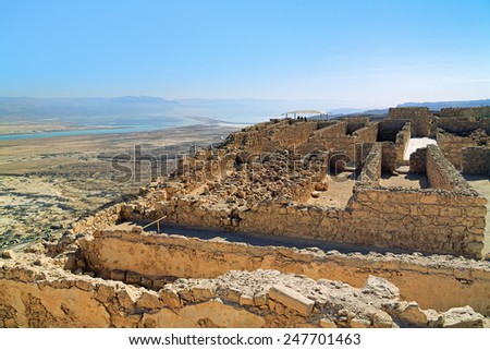 Ruins of Herods Castle in the Masada Fortress near the Dead Sea, Israel - stock photo