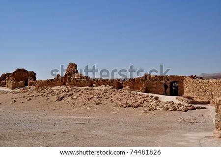 ruins of historic masada in israel - stock photo