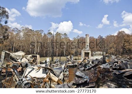 ruins of house burnt on Black Saturday bushfires in Victoria Australia - stock photo