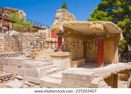 Ruins of Knossos - legendary palace of Minos. - stock photo