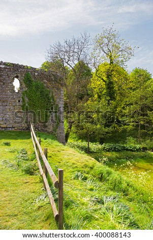 Ruins of Leeds Castle in Kent in England. The castle was built in the twelfth century as a king residence. Now it is open to the public. - stock photo