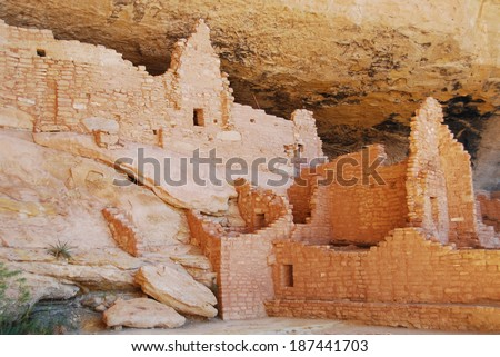 Ruins of Long house on Wetherill Mesa in Mesa Verde National Park, CO, USA. Mesa Verde was inhabited by the Ancestral Pueblo people from AD 600 to 1300.  - stock photo