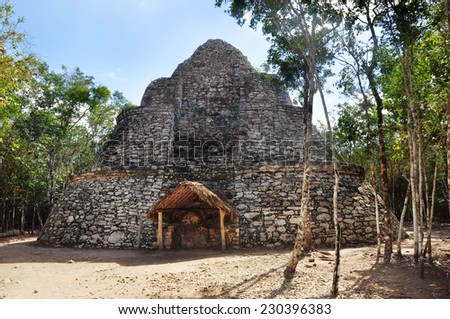 Ruins of Mayan pyramid at jungles . Coba. Mexico - stock photo