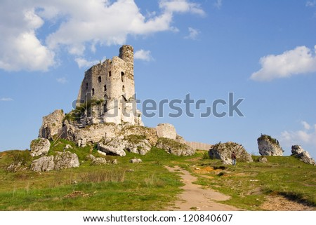 Ruins of medieval castle Mirow in Poland - stock photo